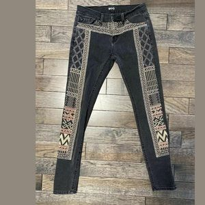 Anthropologie BDG Embroidered Skinny Jeans, 25